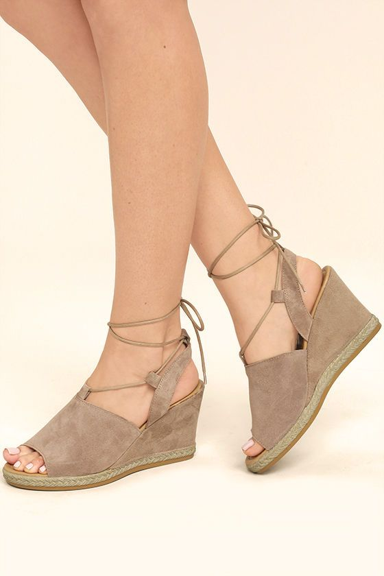 The Seychelles What Not Taupe Suede Leather Lace-Up Wedges are the perfect  sun-ready sandals! From a peep-toe, genuine suede leather is molded to a ... 48e920f2ef