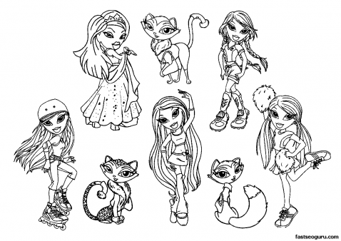 Free Bratzillaz Printable Coloring Pages For Girls Bratz Characters Cloe Sasha Jade Vinessa Dana Fianna Joelle Ashby Tyla Page