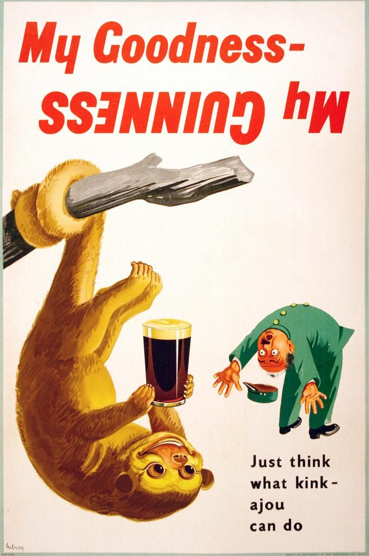 MY GOODNESS MY GUINNESS - KINKAJOU ORIGINAL VINTAGE BEER POSTER BY JOHN  GILROY