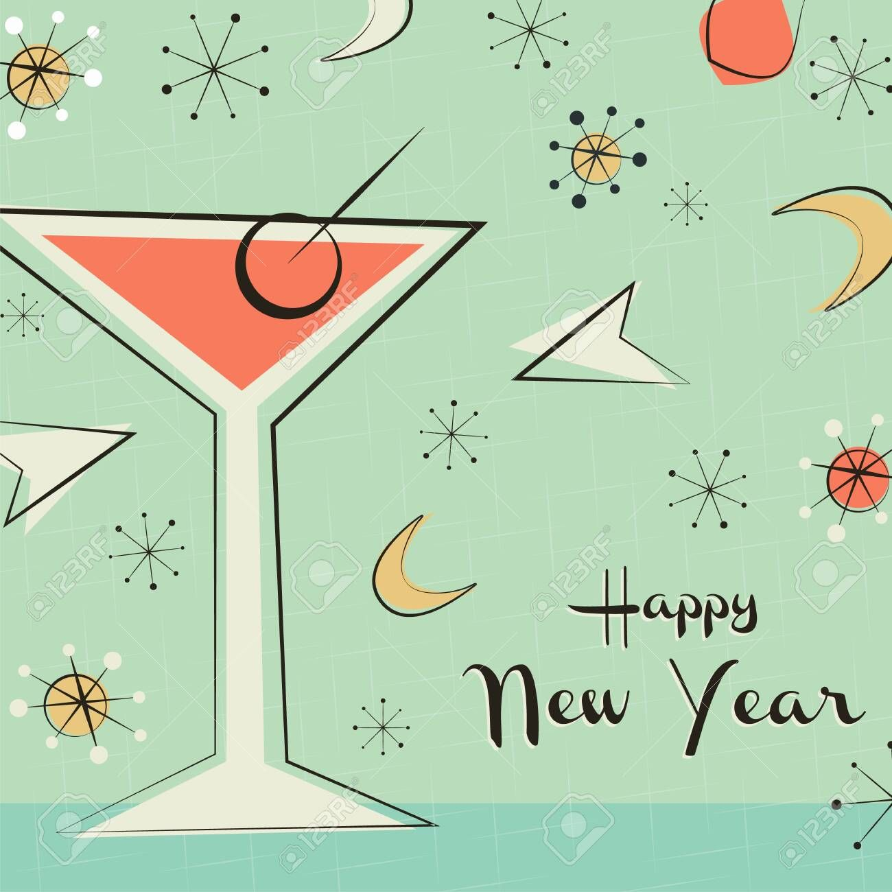Happy new year greeting card illustration of retro style
