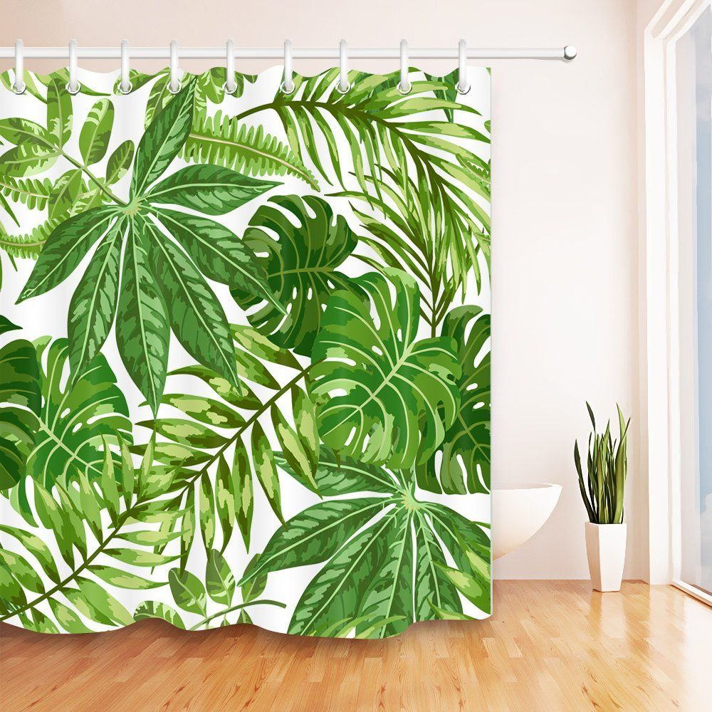 Palm Leaves Tropical Green Plants Shower Curtain Waterproof