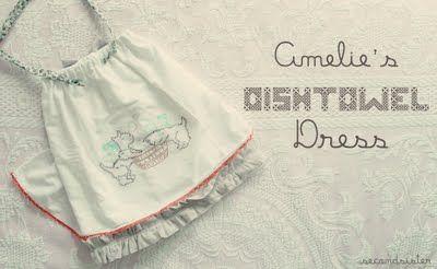Great-grandma's embroidered dishtowels? Turn them into this super cute dishtowel dress!