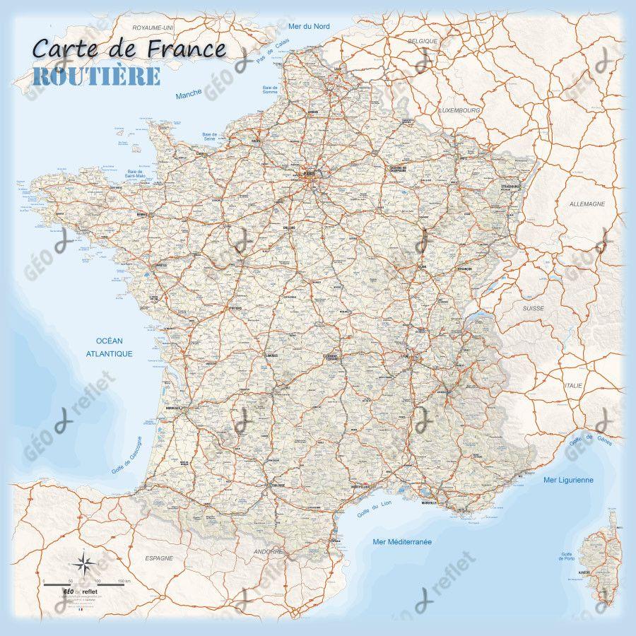 Carte D Anniversaire Grand Format Elegant Carte De France Routiere