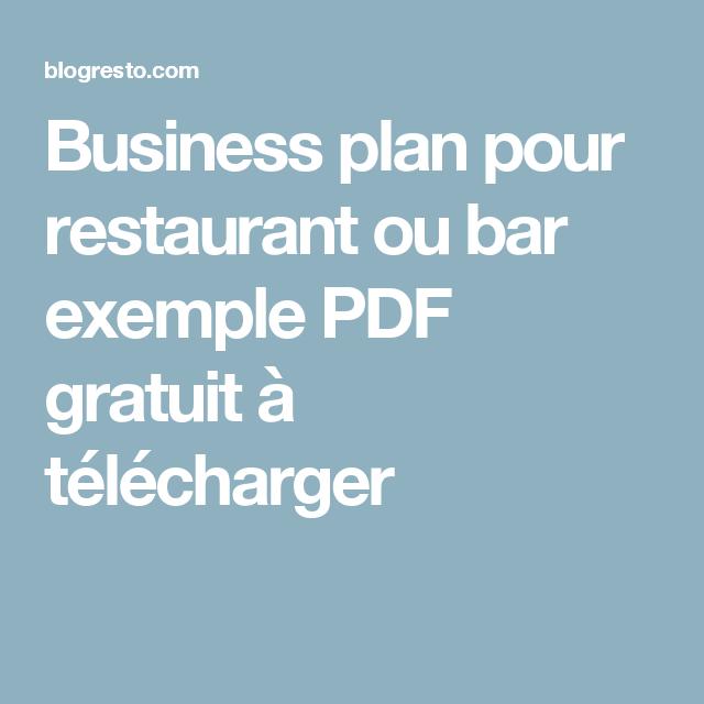 Business Plan Pour Restaurant Ou Bar Exemple Pdf Gratuit A