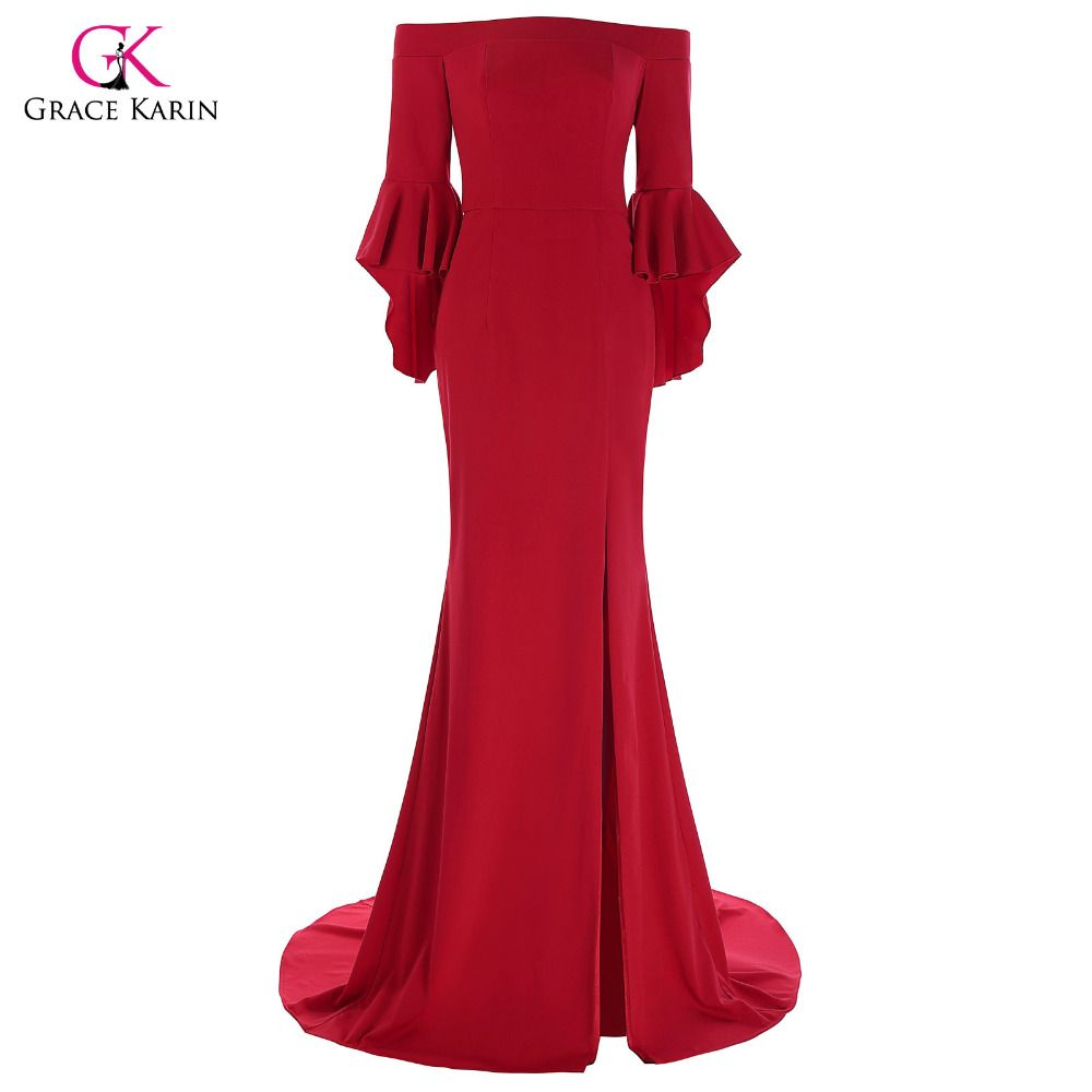 Click to Buy << Grace Karin Red Mermaid Evening Dress Three