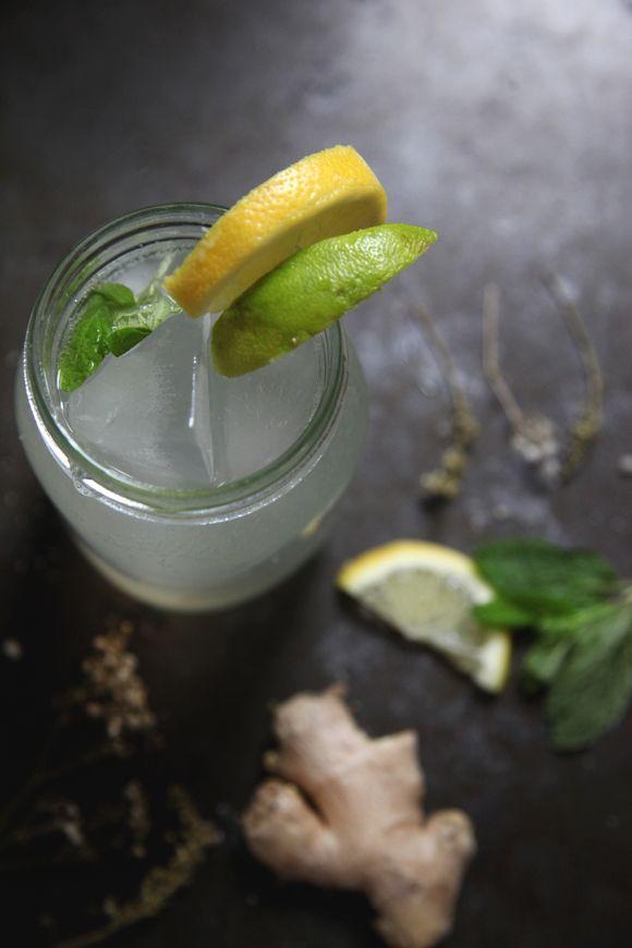 Ginger Ale - 200 g. sukker, 200 g. ingefær skrællet, ½ l. vand. Koge i 30 minutter. Blandes med danskvand citronsaft og lime efter smag.