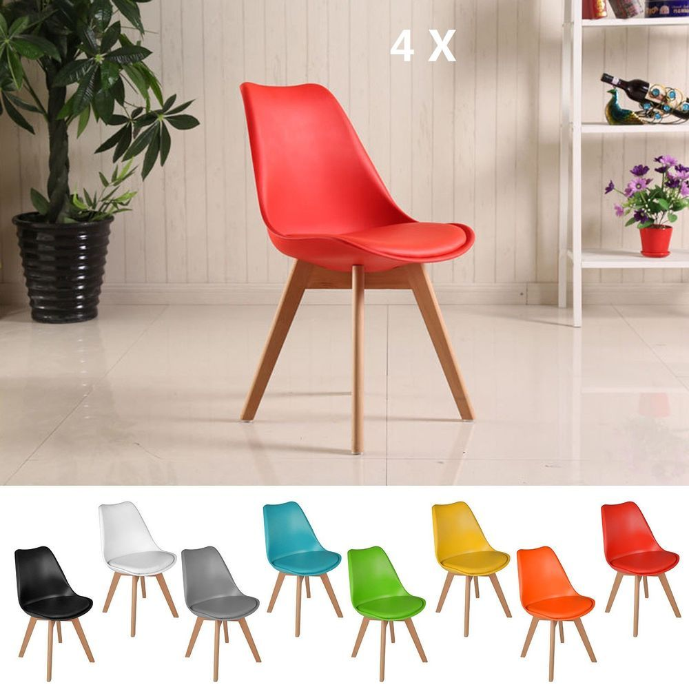 Jamie Tulip Eiffel Dining Chairs Retro Vintage Style Wooden Legs Padded Seat