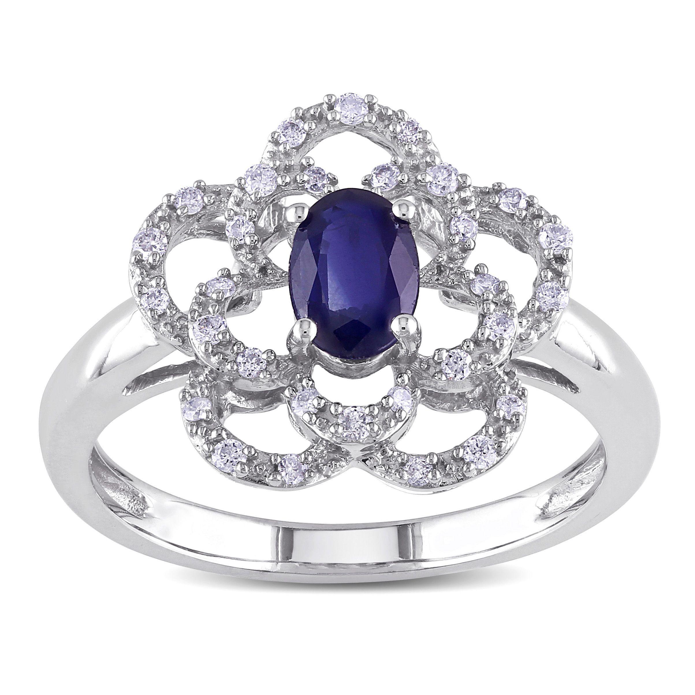 Miadora signature collection 14k white gold 1ct tdw diamond double row - Miadora 14k White Gold Sapphire And 1 6ct Tdw Diamond Flower Ring G H