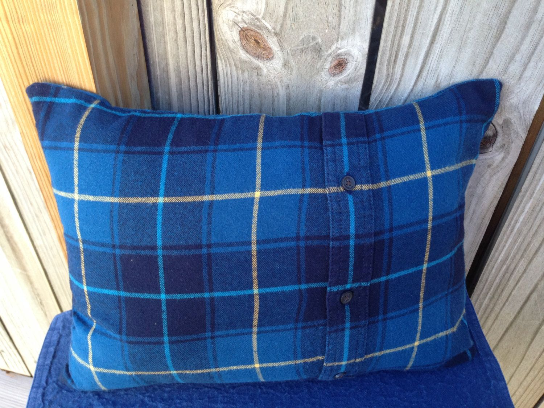 Flannel fleece blanket  Blue Plaid Flannel Pillow Repurposed Flannel Winter Decor Lodge