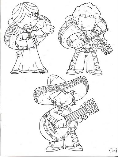 Mexican Mariachi - free coloring pages | Coloring Pages | Mexico ...