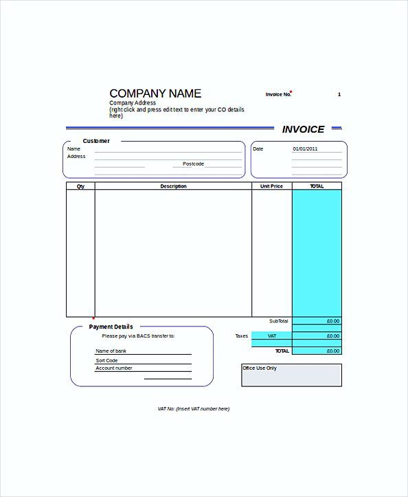 Blank Self Employed Invoice templates , Work Invoice Template - bill sample microsoft