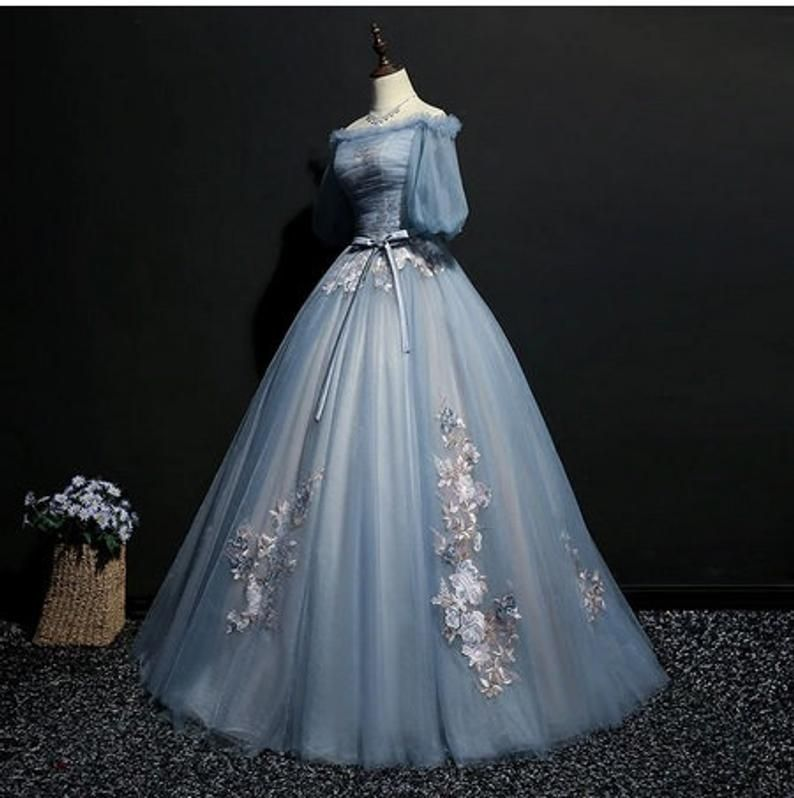 Light ash blue vintage Cosplay ball gown medieval dress Renaissance Queen formal
