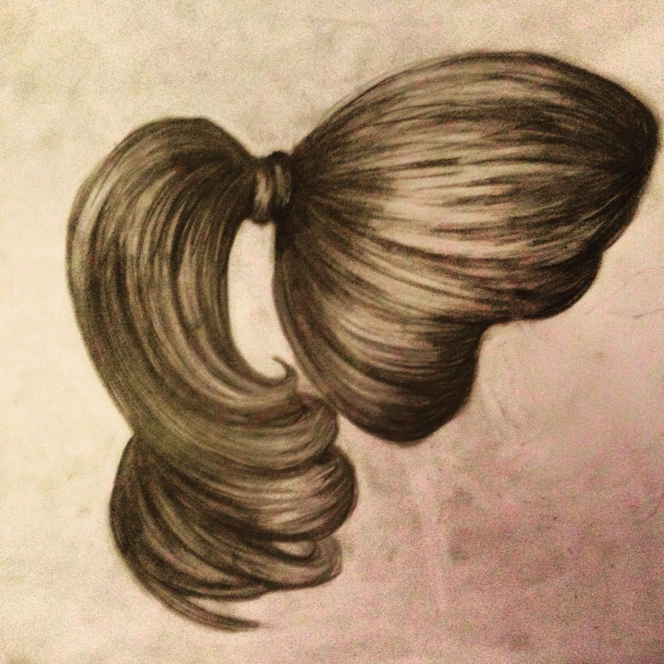Wedding Hairstyles Drawing: Girls Hair! Pony Tail Side View!