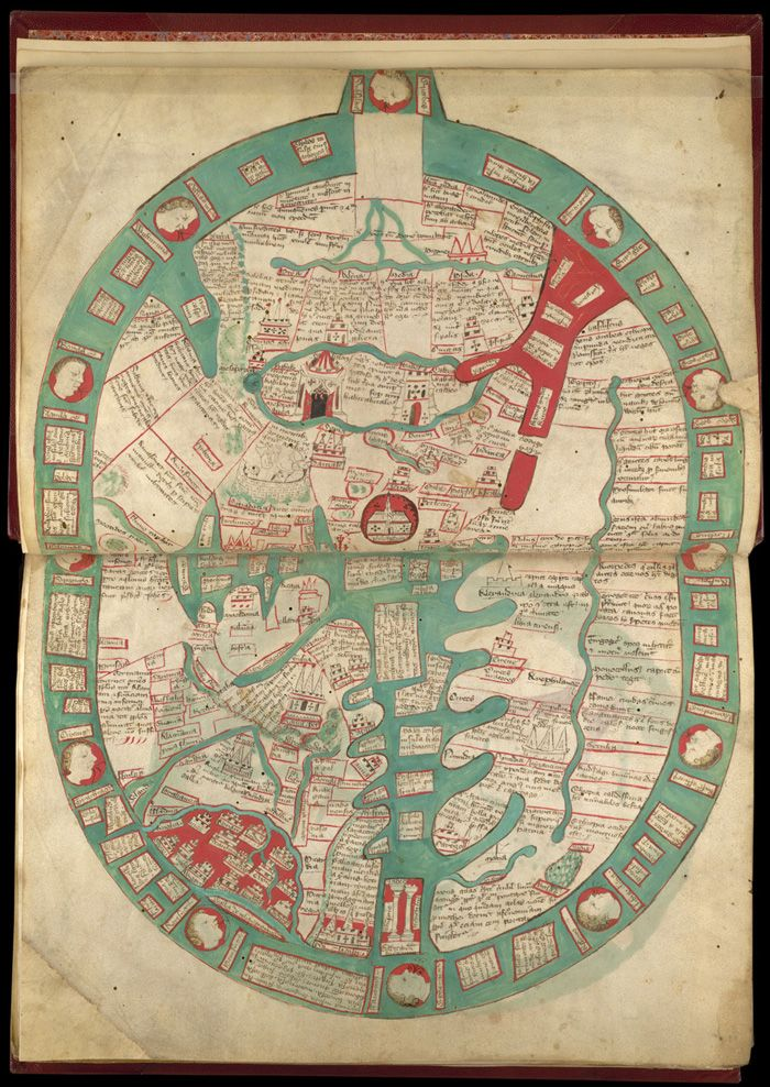 Map of the world with east at the top; from Ranulf Higden, Polychronicon, England, last quarter of the 14th century