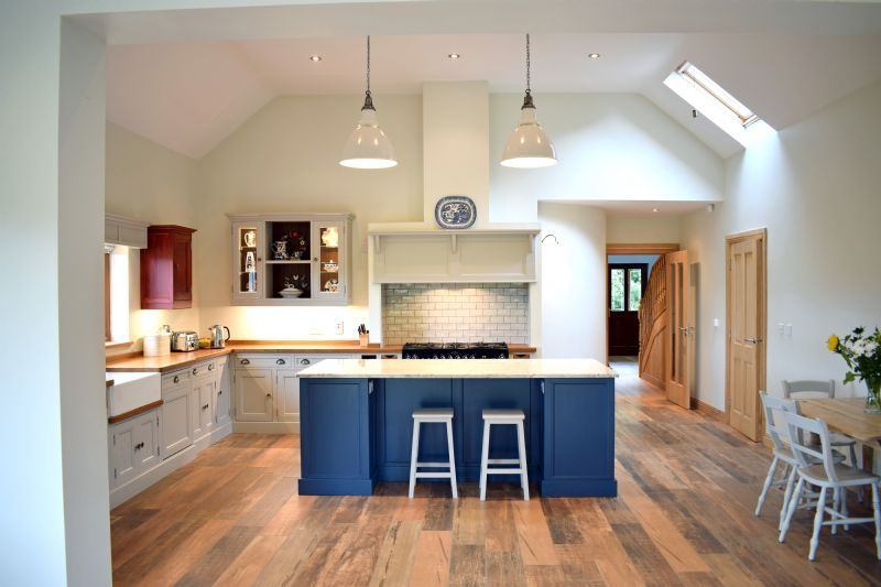 stone blue farrow and ball kitchens Island in Farrow & Ball Stiffkey Blue. Cabinets in Purbeck