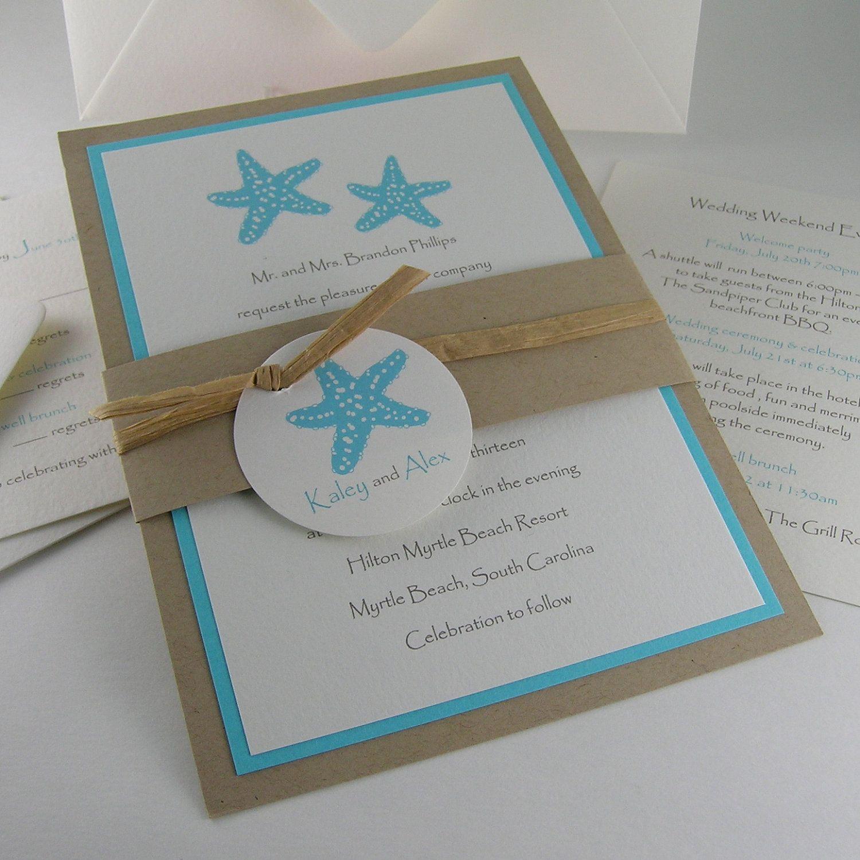 Starfish wedding invitation turquoise and tan. $8.50, via Etsy. | I ...
