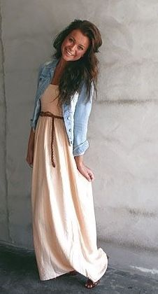 08c84262f Maxi dress and jean jacket | Fashion/clothes | Fashion, Fashion ...