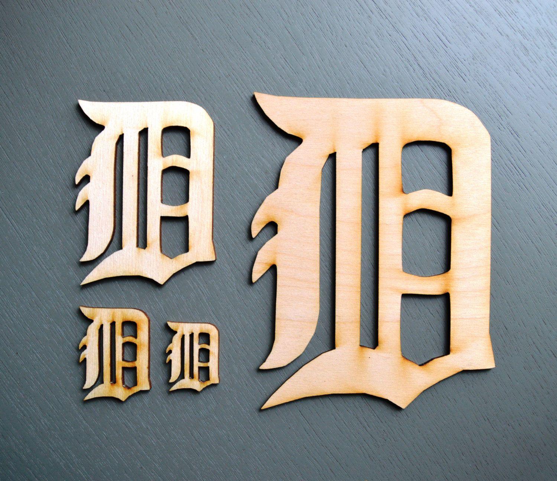 Laser cut wood Olde English D Wood Cutout | Laser Cut Letter D | Unfinished Wood Letter D | Olde English D Cutout