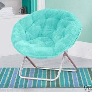 Saucer Chairs For Teens | Folding SOFT PLUSH SAUCER CHAIR  AQUA Seat Dorm Furniture Teen Light .