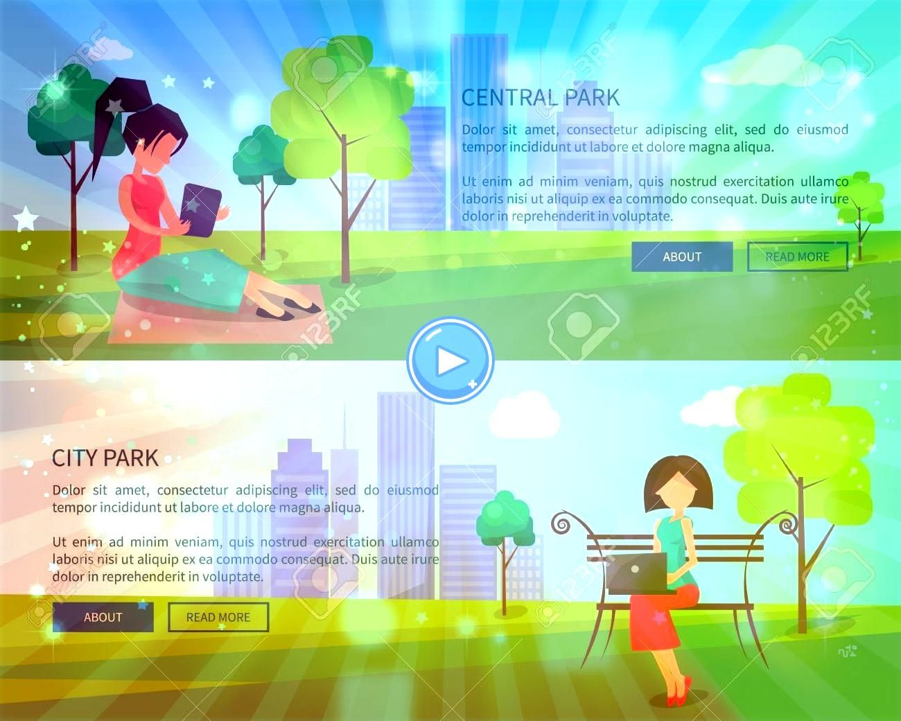 City Park Banners with People and Gadgets Central City Park Banners with People and Gadgets  Healthy People Lifestyle Fitness 100 Fitness Vector Icons Sport Icons 900 Adi...