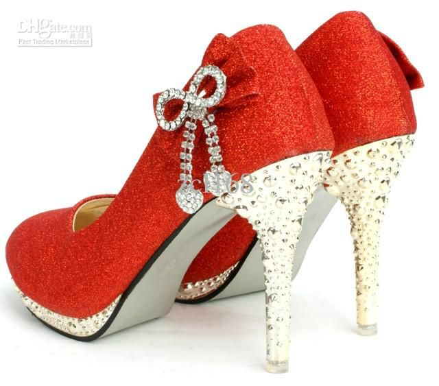 WEDDING GIRLS RED GLITTER FLATS-SHOES w//Bowtie Sz 7-2 DRESS UP PARTY