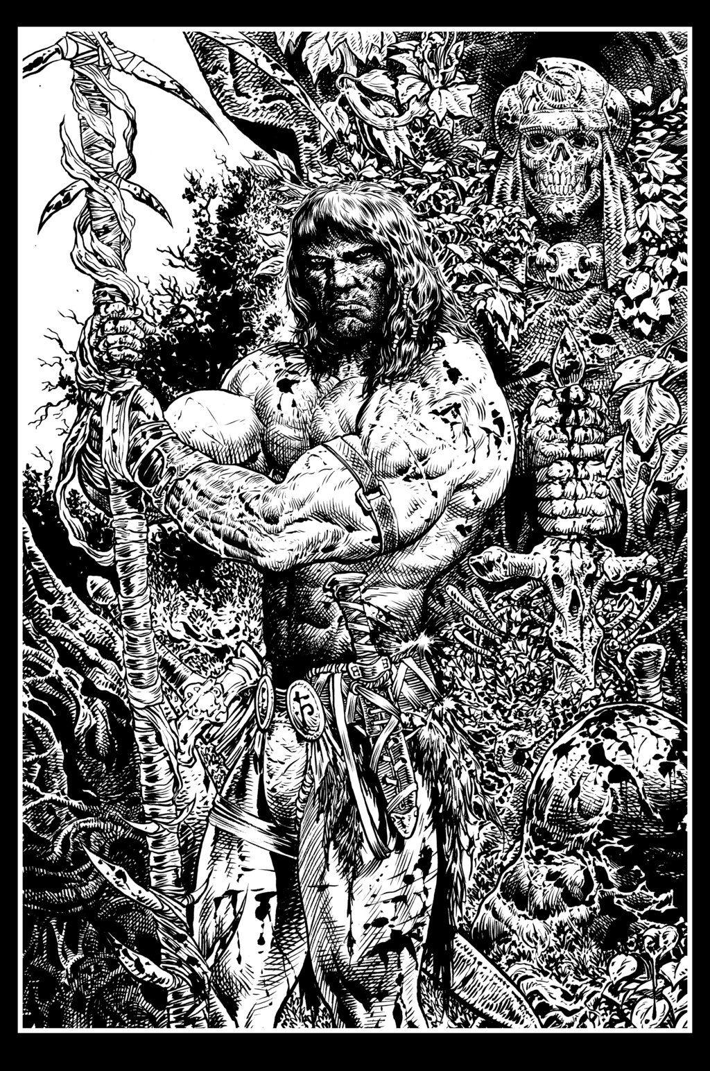 Conan black and white art by liamsharp on deviantart