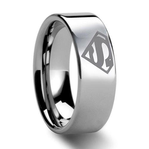 8mm bridal mens superman tungsten engagement ring ceremony wedding