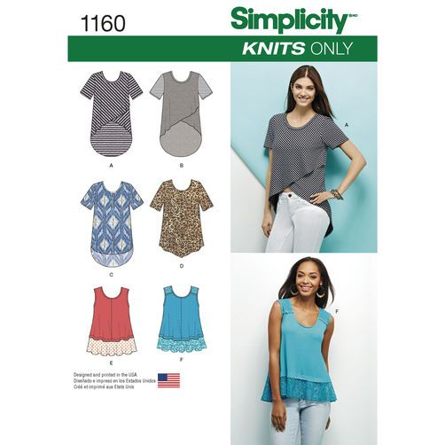 Simplicity Pattern 1160 Misses Knit Tops Sewing Patterns