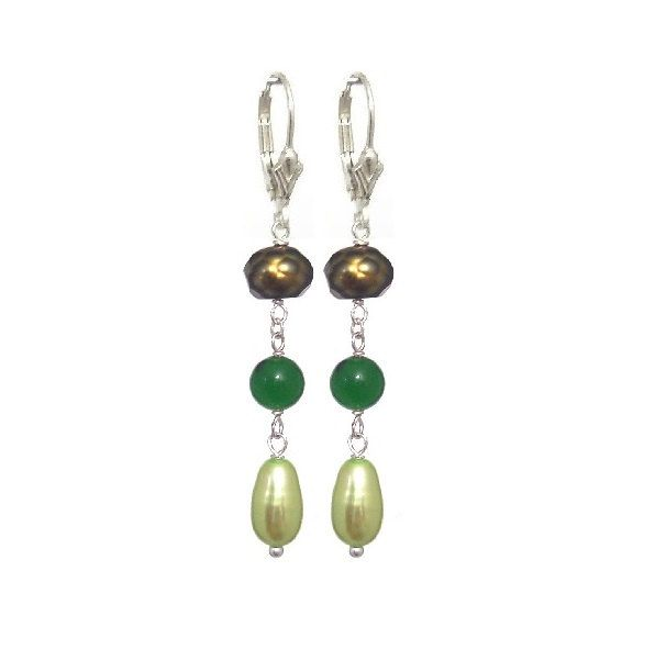 Freshwater Pearls Olive Green Rondelle Rice, 925 Sterling Silver Lever Back Earrings- Handmade - Natural Stones- Jewelry - FREE SHIPPING de ArtGemStones en Etsy