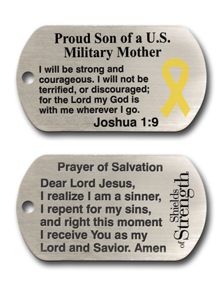 Proud Son of A US Military Mother Dog Tag Christian