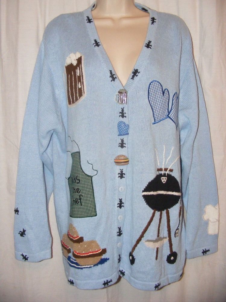 Quacker Factory Blue Cookout Grill Summer Cook Off Cardigan Sweater 1X #QuackerFactory #Cardigan