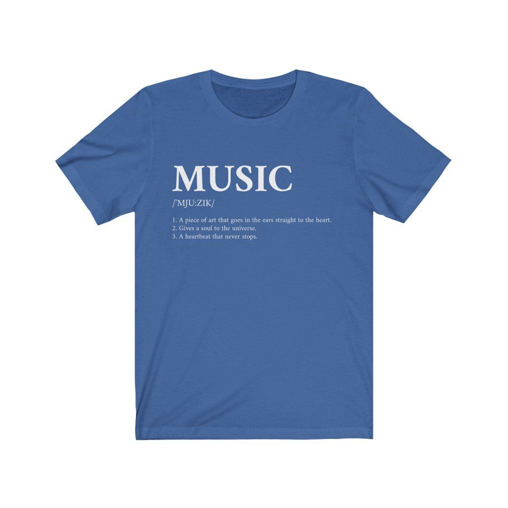 S M L XL Width, cm 45.7 50.8 55.9 61 Length, cm 71.1 73.7 76.2 78.8 Sleeve length, cm 22.6 23.3 24 24.7 Define your love of Music, Super soft cotton and excellent quality print makes one to fall in love with it over and over again. Retail fit 100% Soft cotton (fibre content may vary for different colors) Light fabric (4.2 oz/yd² (142 g/m²)) Tear away label Runs true to size