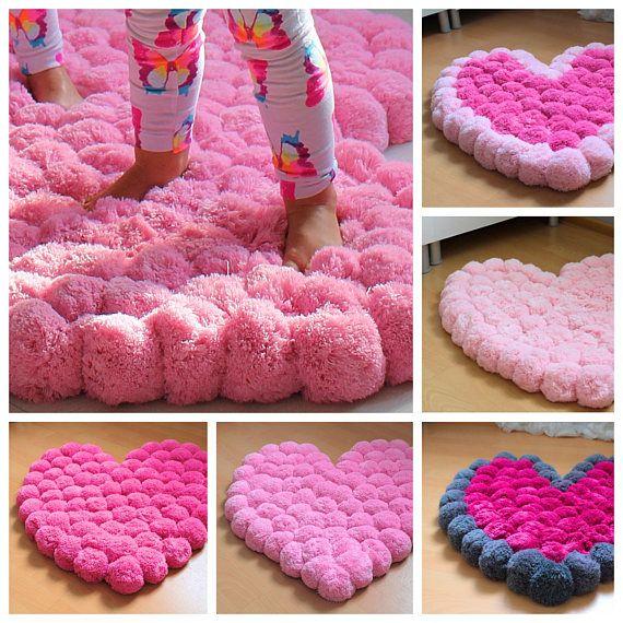 Big Pom Pom Rug Large Rug Pink Heart Rug Girl Room Rug