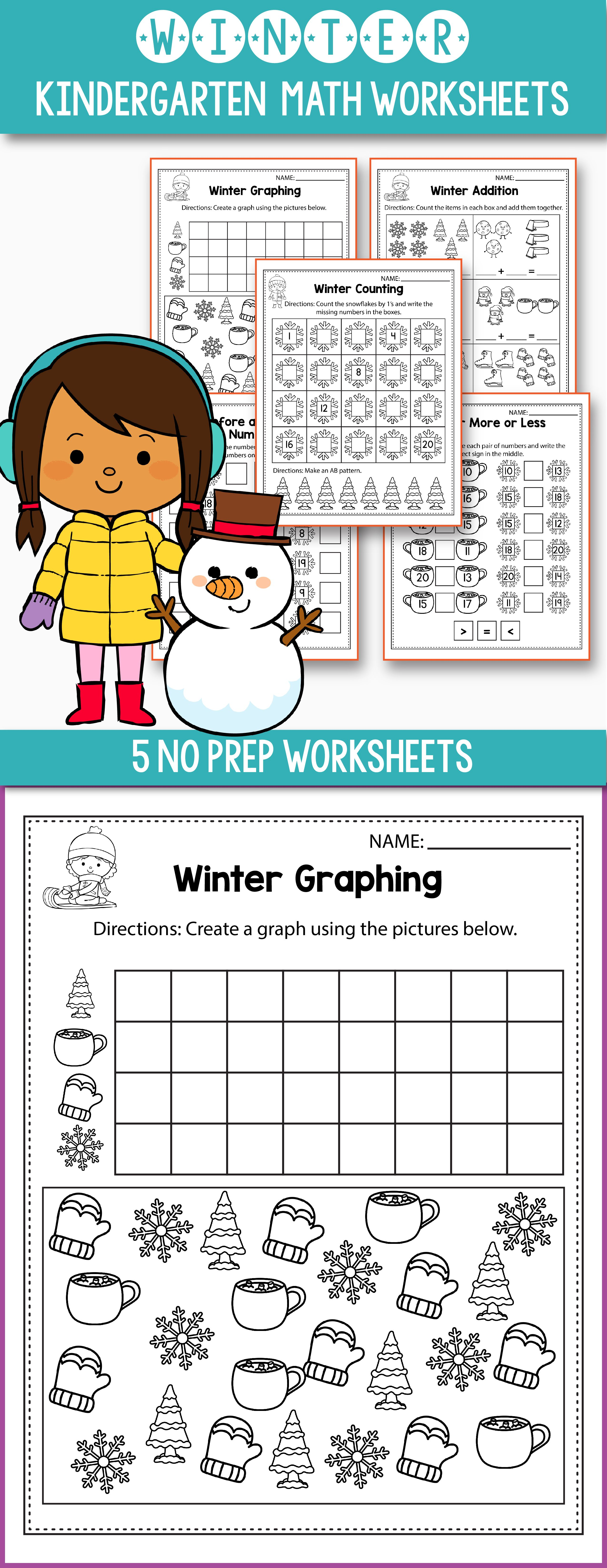 Free Winter math worksheets for kindergarten - includes some fun ...