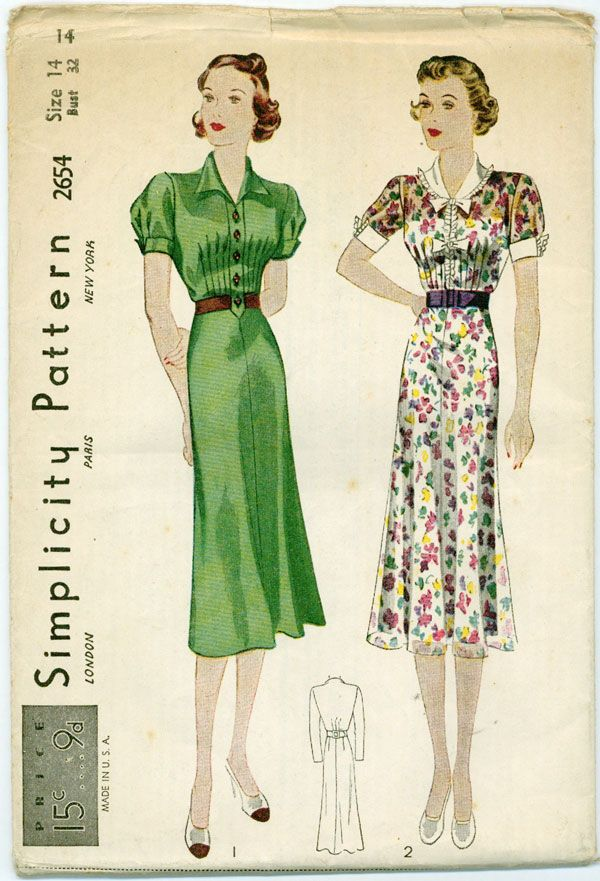 Simplicity 2654 1930s V Neck Shirtwaist Dress Withpuff Sleeves 37 61 Vintage Sewing Patterns Free Worldwide Shipping Out Vintage Sewing Patterns Dress Sewing Patterns Vintage Sewing