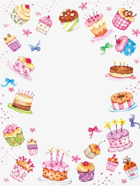 Hand Painted Watercolor Cake Border Watercolor Birthday Watercolor Cake Birthday