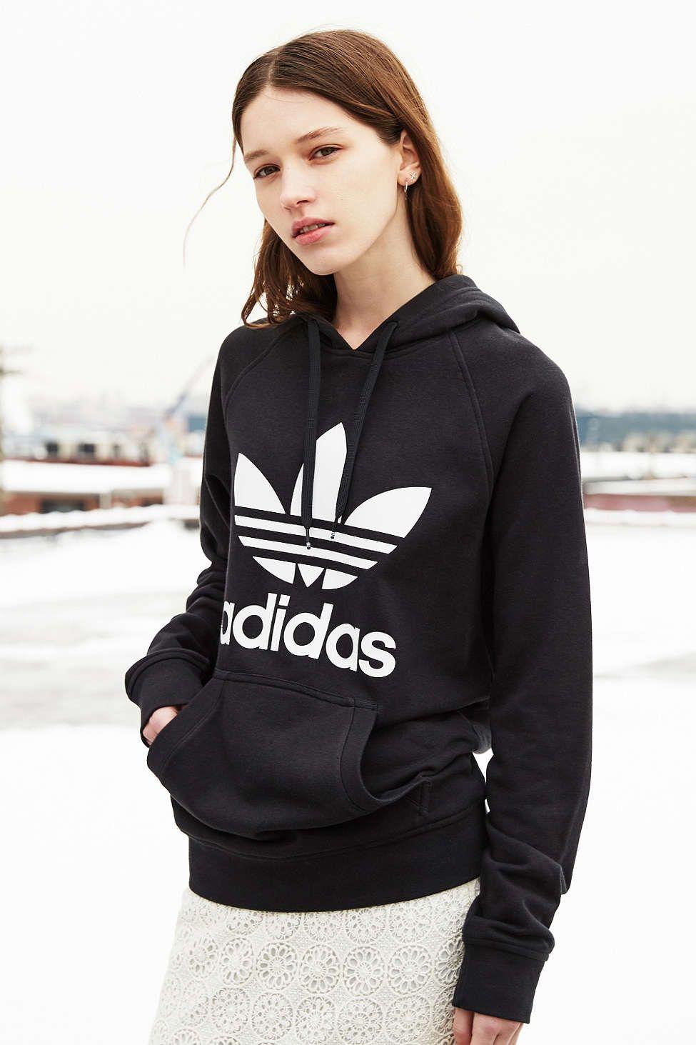 adidas black trefoil hoodie