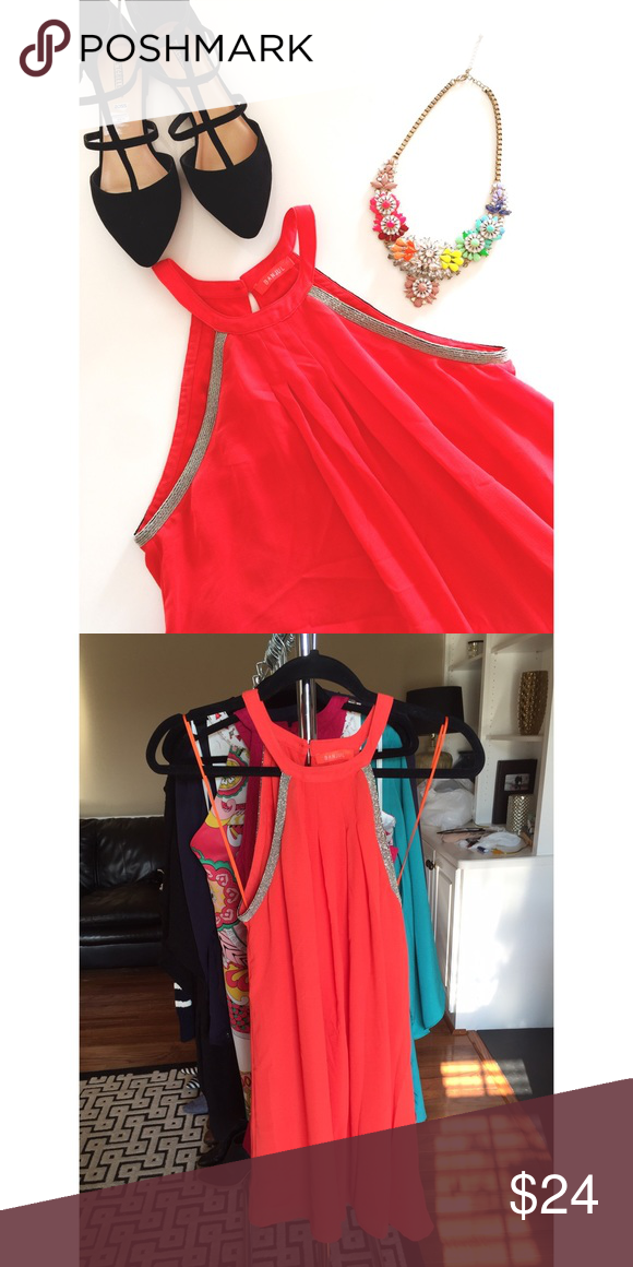 b09d09667fd Banjul • Neon orange • Tunic or dress depending on height • Beaded accents •