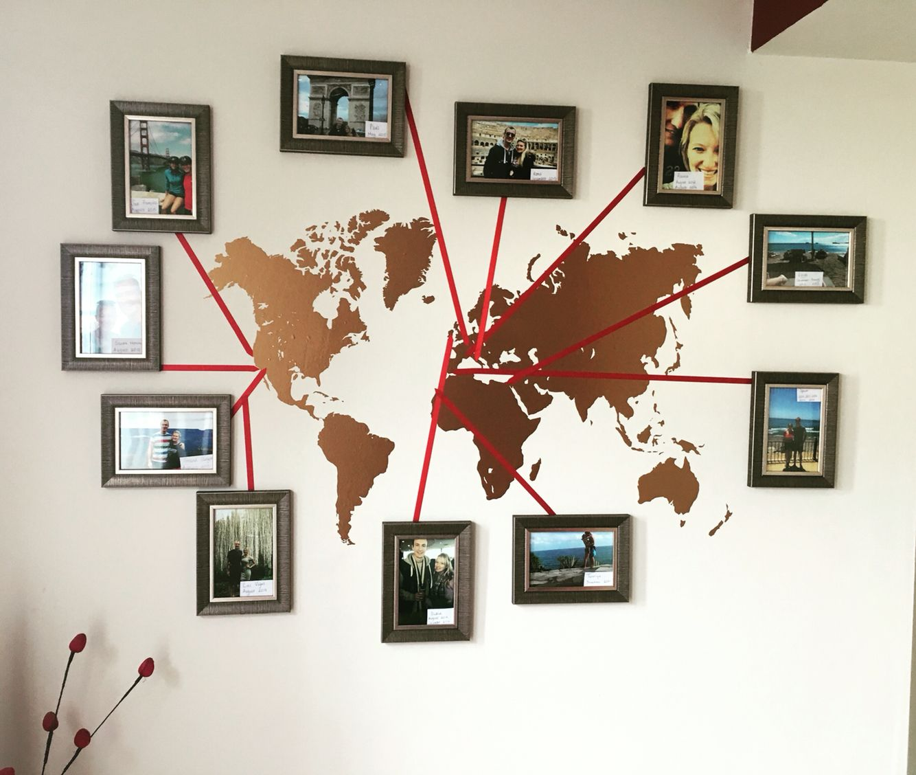 New feature wall stencil of the world map then ribbon and images stencil of the world map then ribbon and images from places gumiabroncs Image collections