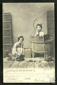 Japan-2-Girls-BEAUTIES-bathing-Tub-stamp-ca-1899