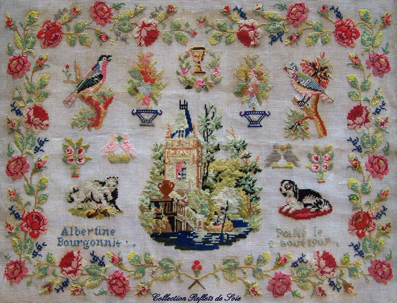 MY CURRENT PROJECT ~ A Fabulous FRENCH Sampler Beautifully Charted & Presented By Reflets De Soie ~ Albertine Bourgonnie Dated 1907