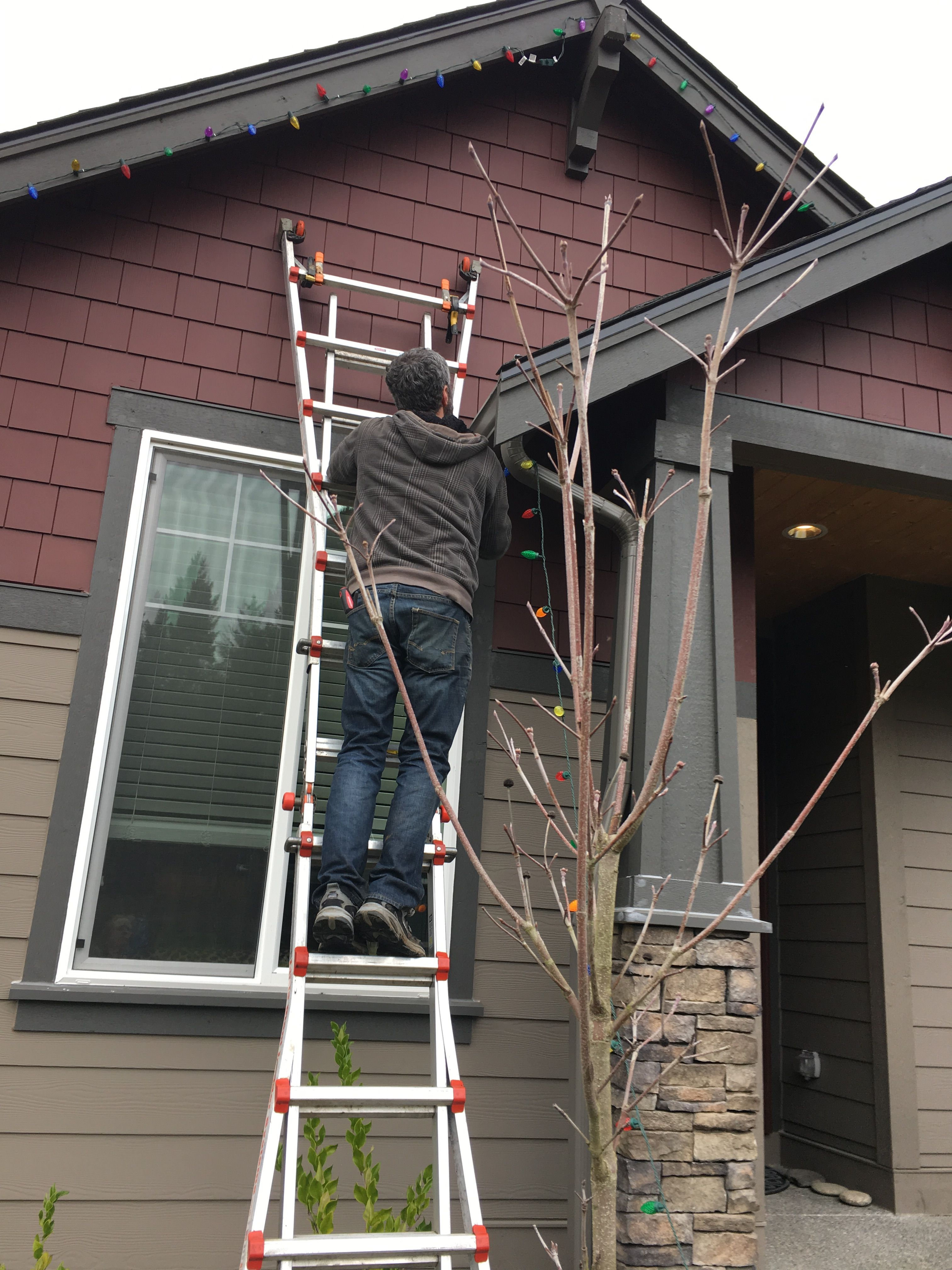 Pin By Bubble Truck Window Cleaning On Christmas Light Hanging Installation Removal Hanging Lights Christmas Lights Ladder Decor