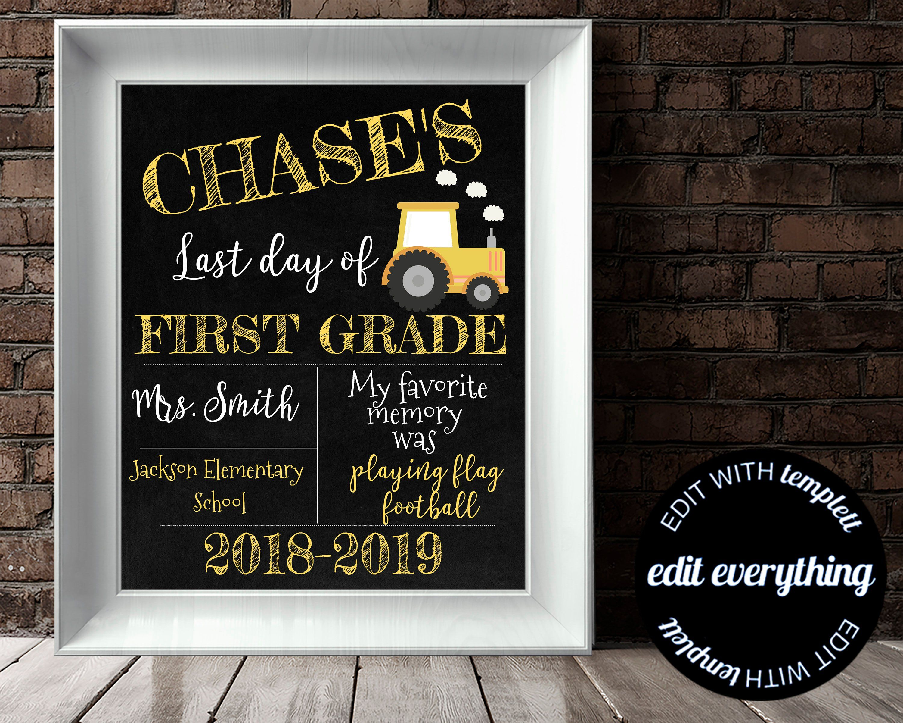 last day of school sign back to school chalkboard any grade editable