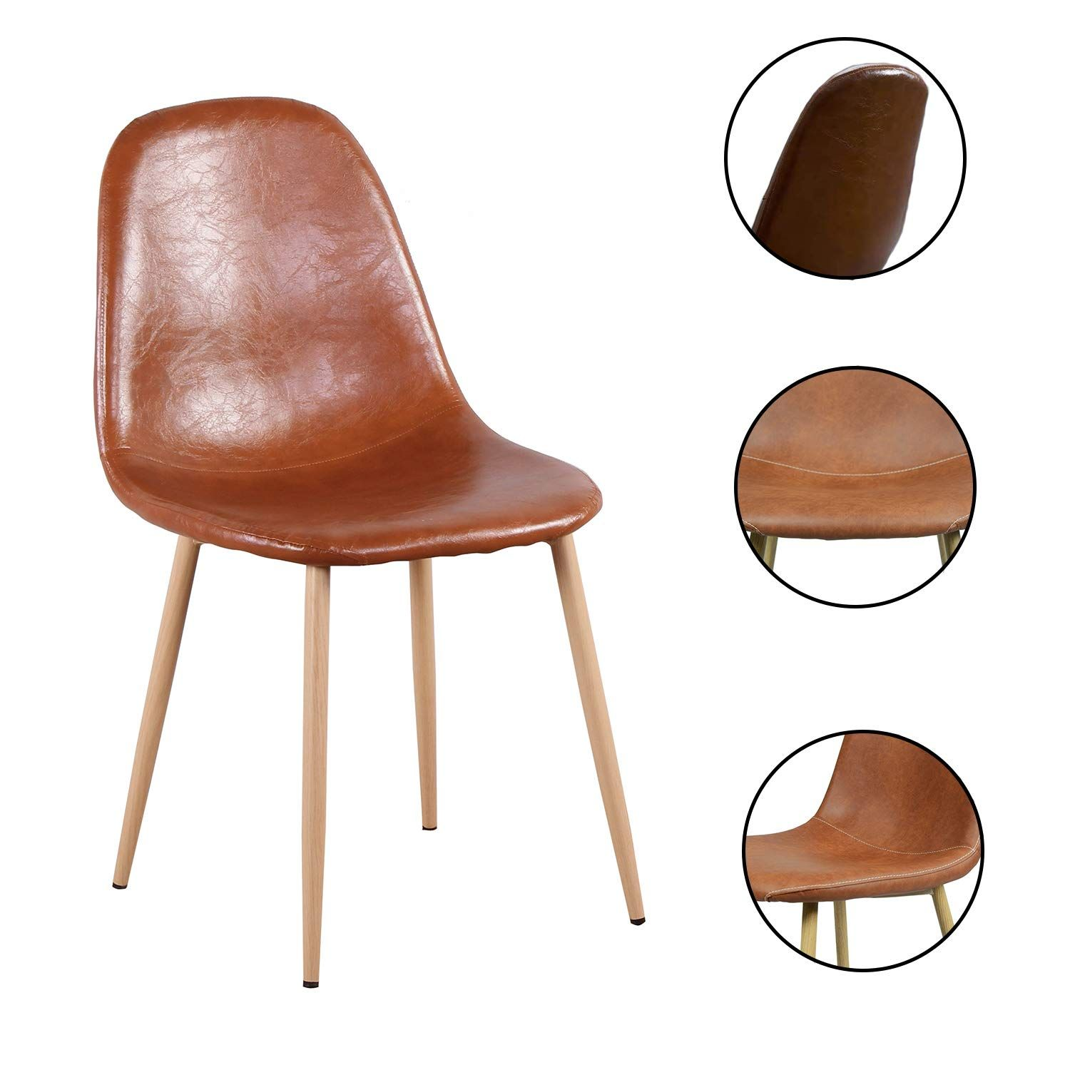 Set of 4 PU Leather Eames Style Dining Chair with Wooden