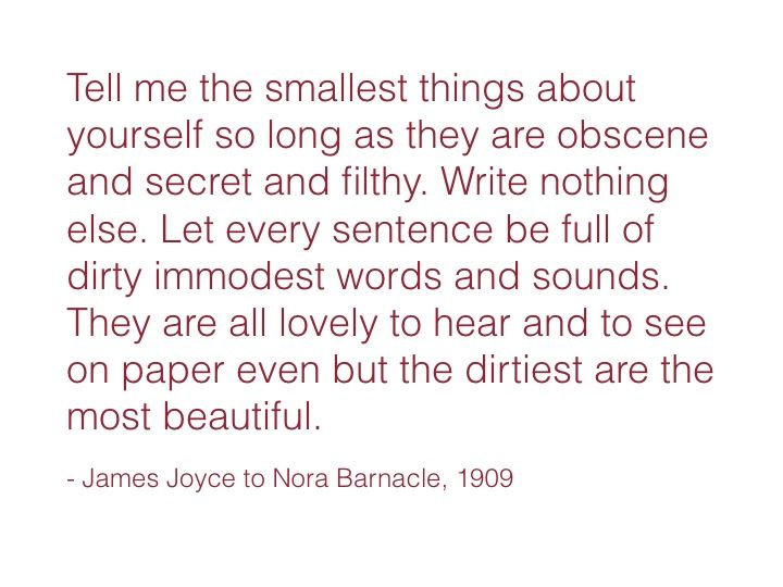 dirty love letter James Joyce to Nora B