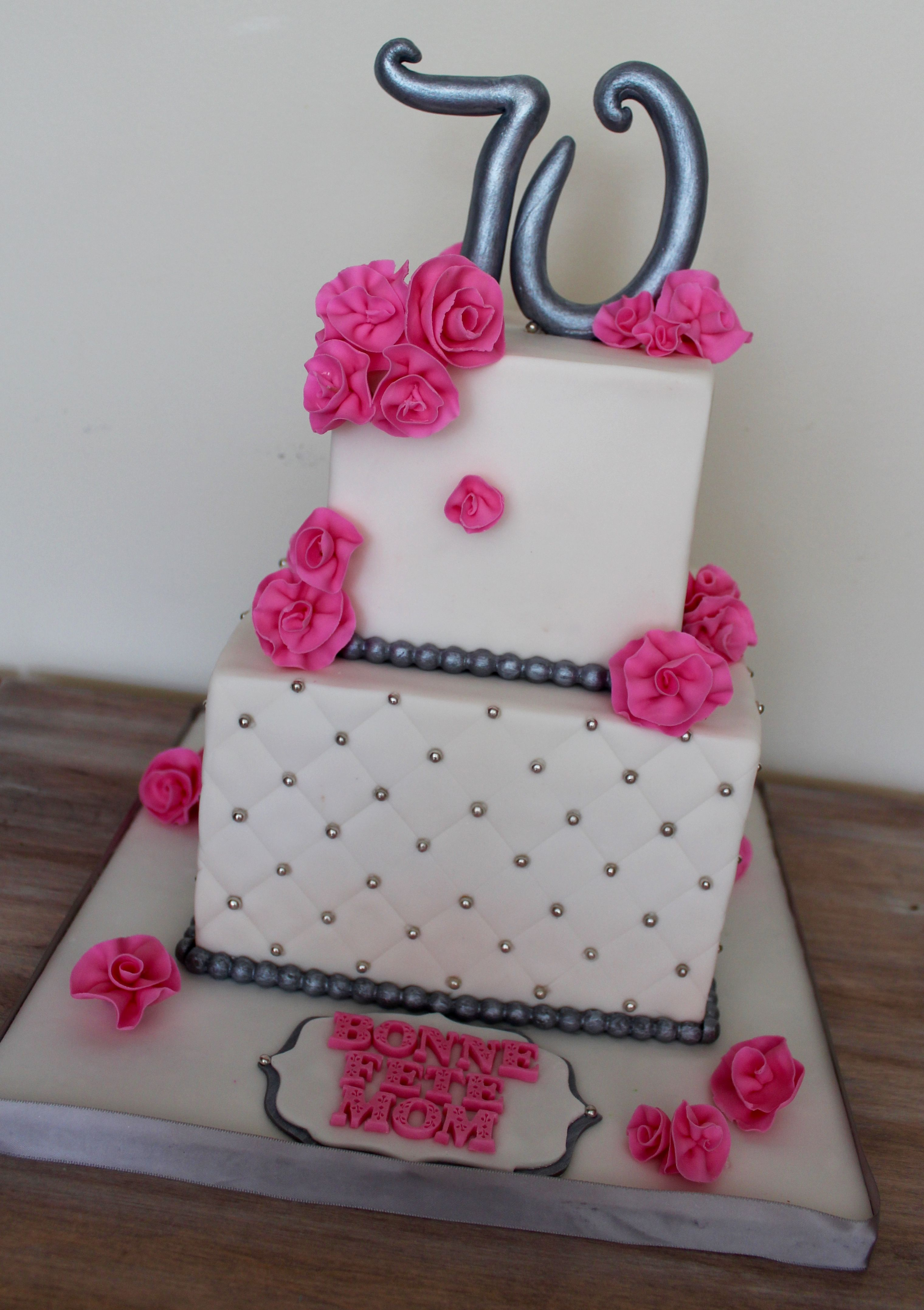 Two Tiered Square Cake Diamond Pattern Pink Silver And White 70th Birthday