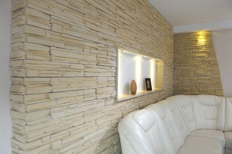 Cremefarbene Verblendsteine Für Die Wand In Einem Modernen Wohnzimmer  Wohnzimmer Inspiration, Wohnzimmer Modern, Steinwand