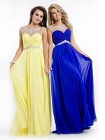Fashionable Crystals Beaded Cap Sleeves Prom Gown Yellow Chiffon Long Evening Dresses Open Back Illusion Neckline MG236