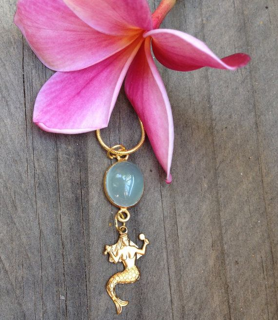 Chalcedony Vermeil Mermaid Necklace by VeronicaBCreations on Etsy
