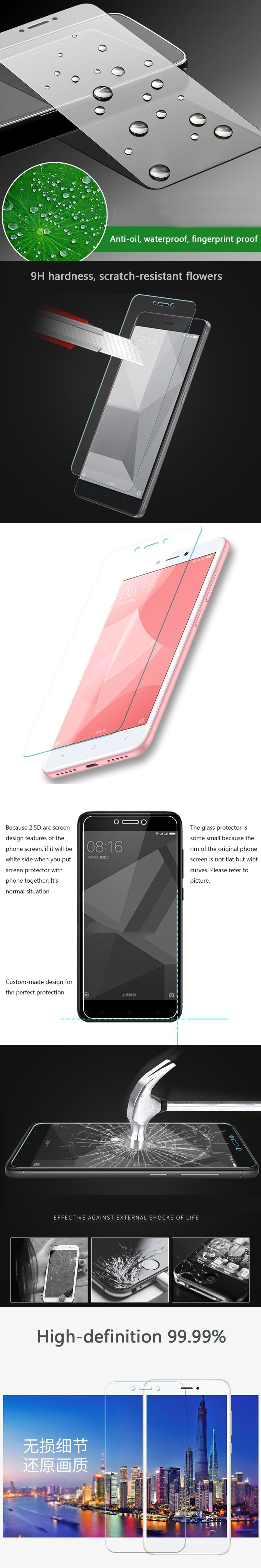 Tempered Glass For Xiaomi Redmi 4x 4 Pro Prime Note Screen Protector Toughened Film High Quality 9h 25d